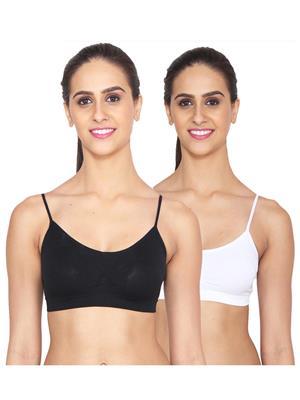 Ansh Fashion Wear Lin-Bra-4016-2Cm-Blk-Wht Multicoloured Women Bra Combo Pack