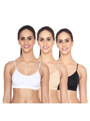 Ansh Fashion Wear Lin-Bra-4016-3Cm-Wht-Skn-Blk Multicoloured Women Bra Combo Pack