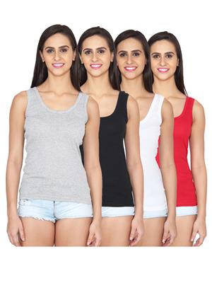 Ansh Fashion Wear LING-SPG-505-GRY-BLK-WHT RD Multicolored Women Camisoles Pack Of 4