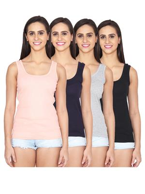 Ansh Fashion Wear LING-SPG-505-PNK-DB-GRY-BLK Multicolored Women Camisoles Pack Of 4