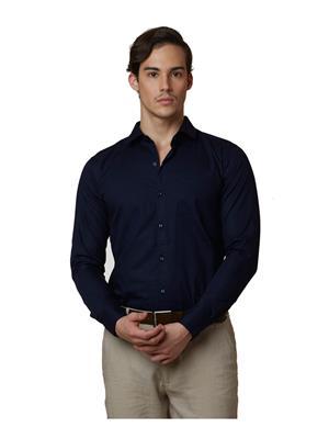Lisova LI-SHRT-086 Dark Blue Men Solid  Slim fit Shirt
