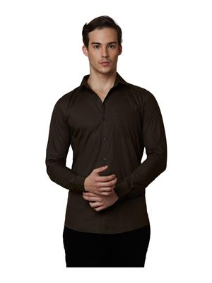 Lisova LI-SHRT-088 Dark Green Men Solid  Slim fit Shirt