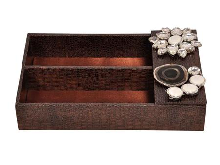 HOMEZ LSLCT1 Brown Standing Cutlery Tray with Stone work