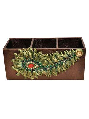HOMEZ LSTCT3 Brown Standing Cutlery Tray with Peacock Feather Panel