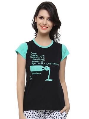 Clovia LT0040P13 Black Women T-Shirt