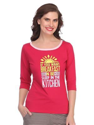 Clovia Lt0105P14 Pink Women T-Shirt