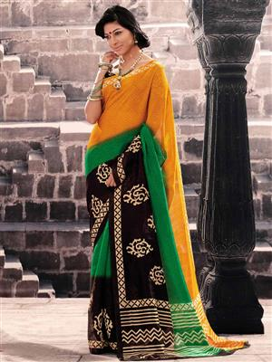 LT Fabrics 20004 Yellow Saree