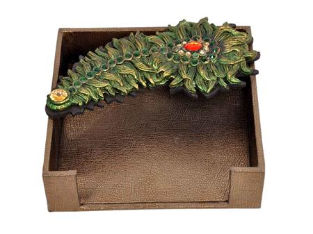 HOMEZ LTT3 Brown Tissue Tray with Peacock Feather Panel