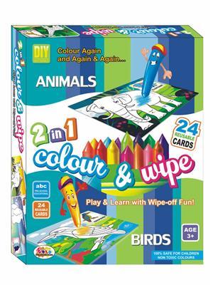 Ekta Lw-Et111 Multicoloured Colour & Wipe Animals And Birds