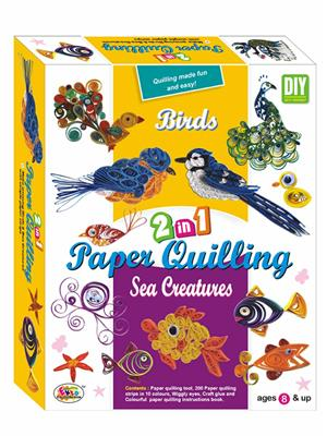 Ekta Lw-Et146 Multicoloured Paper Qualling 2In1 Birds And Sea Creatures