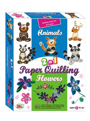 Ekta Lw-Et147 Multicoloured Paper Qualling 2In1 Animals And Flowers