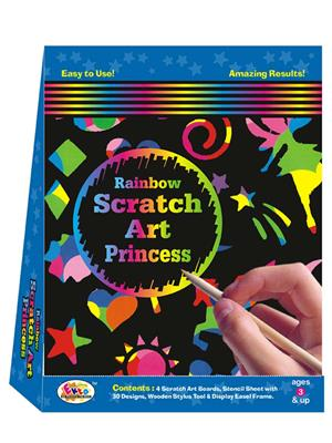 Ekta Lw-Et153 Multicoloured Rainbow Scratch Art Princess