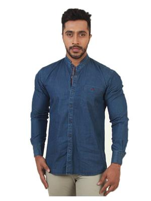 Crimsoune Club MA3566 Blue Men Casual Shirt