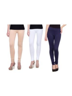 Golden Weave 0011 Multicolored Women Leggings Set Of 3
