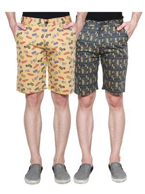 Ansh Fashion Wear Man-Short-D1-D10 Beige Men Short Set Of 2