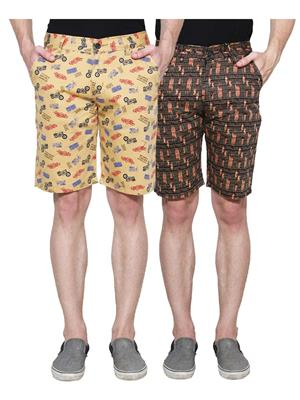 Ansh Fashion Wear Man-Short-D1-D2 Beige Men Short Set Of 2