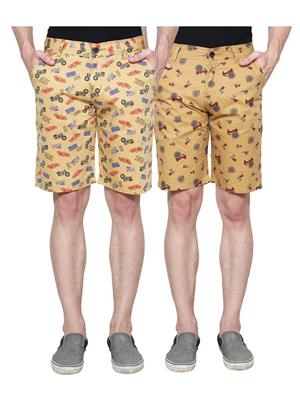 Ansh Fashion Wear Man-Short-D1-D3 Beige Men Short Set Of 2