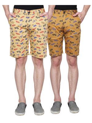 Ansh Fashion Wear Man-Short-D1-D4 Beige Men Short Set Of 2