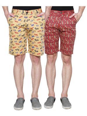 Ansh Fashion Wear Man-Short-D1-D5 Beige Men Short Set Of 2