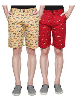 Ansh Fashion Wear Man-Short-D1-D7 Beige Men Short Set Of 2
