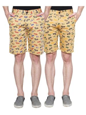Ansh Fashion Wear Man-Short-D1-D8 Beige Men Short Set Of 2