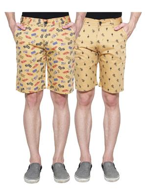 Ansh Fashion Wear Man-Short-D1-D9 Beige Men Short Set Of 2
