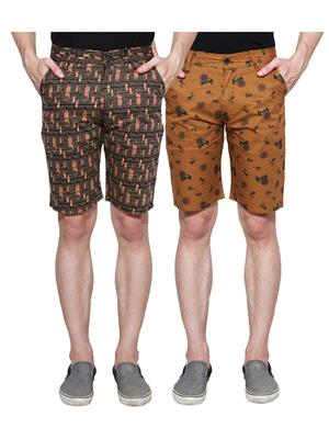 Ansh Fashion Wear Man-Short-D2-D11 Beige Men Short Set Of 2