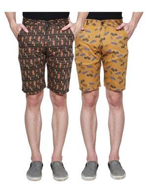 Ansh Fashion Wear Man-Short-D2-D4 Beige Men Short Set Of 2