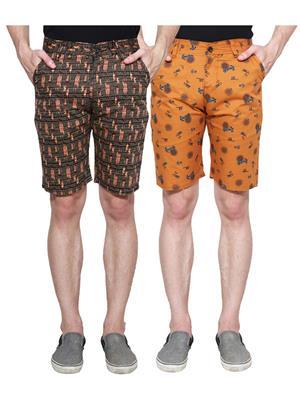 Ansh Fashion Wear Man-Short-D2-D6 Beige Men Short Set Of 2