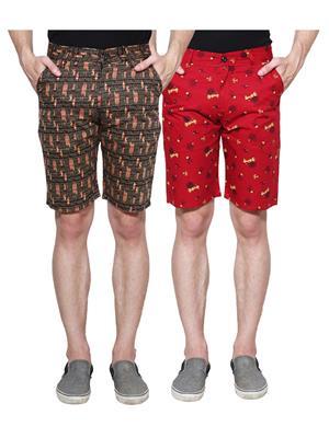 Ansh Fashion Wear Man-Short-D2-D7 Beige Men Short Set Of 2