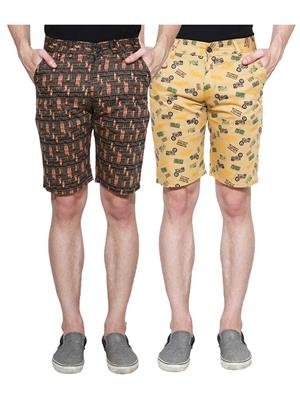 Ansh Fashion Wear Man-Short-D2-D8 Beige Men Short Set Of 2