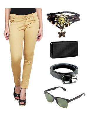 Ansh Fashion Wear MBG-RP Beige Women Chinos With Watch, Belt, Sunglass & Card Holder