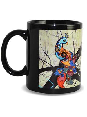 Kolorobia MBP07 Graceful Peacock Black Mug