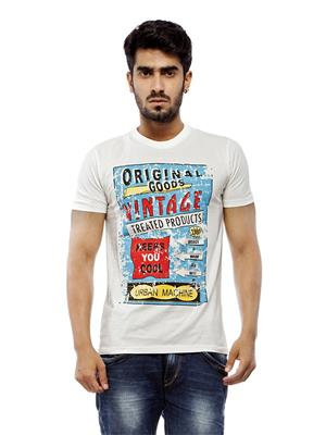 Urban Menz MCTUM-UM1 Cream Mens Round Neck T-Shirt
