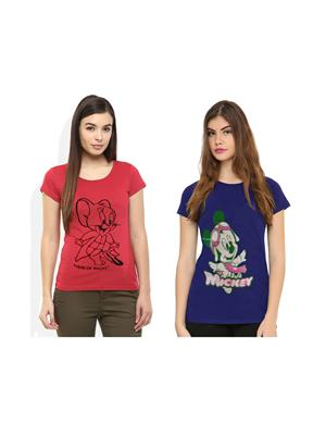 Modish Md-Cmb2-Bl-Ph Multicolored Women T-Shirt Set Of 2