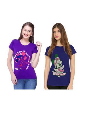 Modish Md-Cmb2-Bl-Ppl Multicolored Women T-Shirt Set Of 2