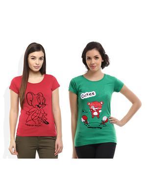 Modish Md-Cmb2-Gn-Ph Multicolored Women T-Shirt Set Of 2