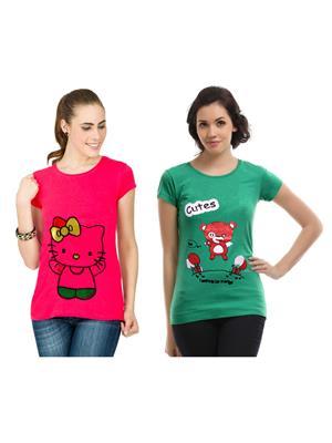Modish Md-Cmb2-Gn-Pk Multicolored Women T-Shirt Set Of 2