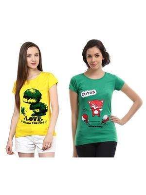 Modish Md-Cmb2-Gn-Yl Multicolored Women T-Shirt Set Of 2