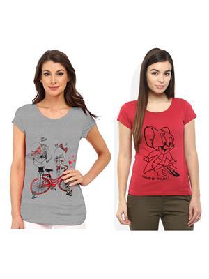 Modish Md-Cmb2-Gr-Ph Multicolored Women T-Shirt Set Of 2