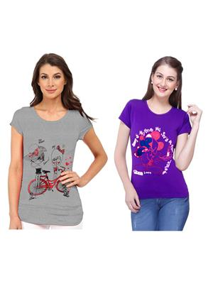 Modish Md-Cmb2-Gr-Ppl Multicolored Women T-Shirt Set Of 2