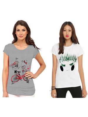 Modish Md-Cmb2-Gr-Wt Multicolored Women T-Shirt Set Of 2