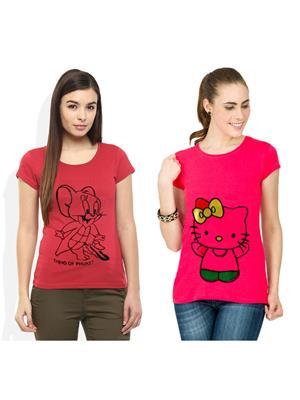 Modish Md-Cmb2-Ph-Pk Multicolored Women T-Shirt Set Of 2