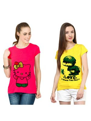 Modish Md-Cmb2-Pk-Yl Multicolored Women T-Shirt Set Of 2