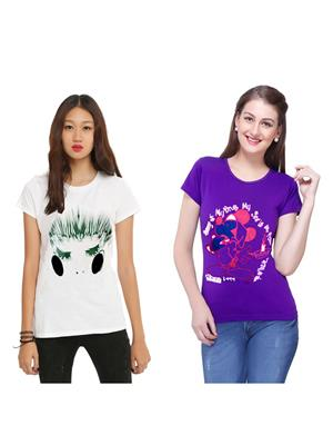 Modish Md-Cmb2-Ppl-Wt Multicolored Women T-Shirt Set Of 2