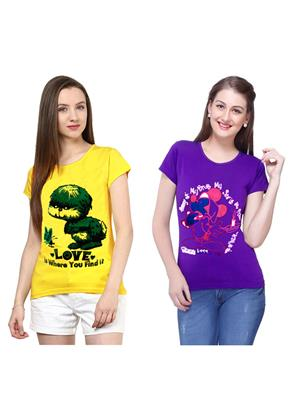Modish Md-Cmb2-Ppl-Yl Multicolored Women T-Shirt Set Of 2
