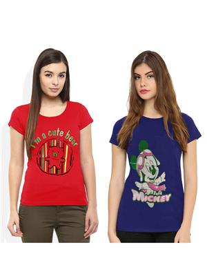Modish Md-Cmb2-Rd-Bl Multicolored Women T-Shirt Set Of 2