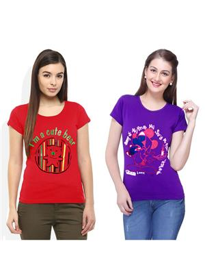 Modish Md-Cmb2-Rd-Ppl Multicolored Women T-Shirt Set Of 2