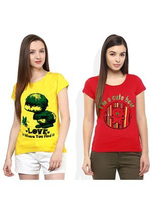 Modish Md-Cmb2-Rd-Yl Multicolored Women T-Shirt Set Of 2