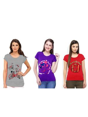 Modish Md-Cmb3-Gr-Rd-Ppl Multicolored Women Top Set Of 3